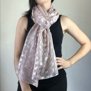 Bebe pink and silver lightweight scarf